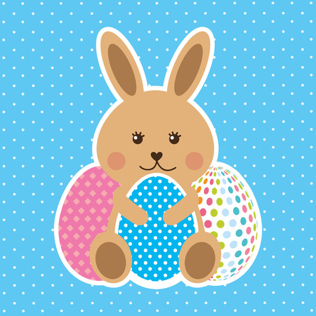 cute brown rabbit sitting with decorative eggs vector illustration Ilustração