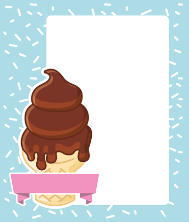 chocolate cone ice cream melted card vector illustration Illustration