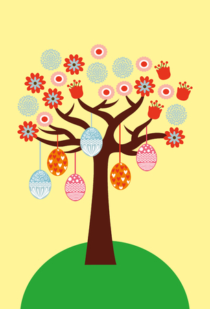 Cute delicate decorative tree with flowers and easter eggs vector illustration Illustration