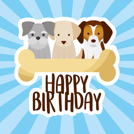 happy birthday card three dogs and bone vector illustration