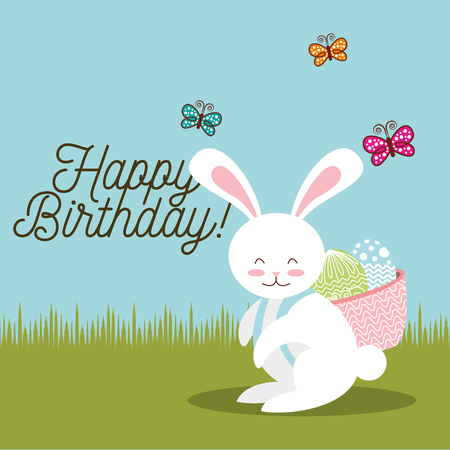 happy birthday card sweet bunny with basket easter eggs in back vector illustration Illustration