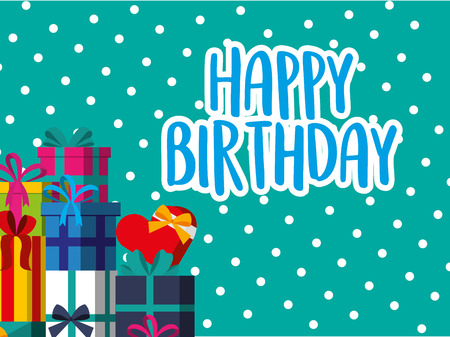Happy birthday card stacked gift boxes dotted background vector illustration