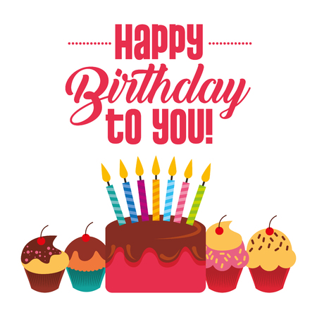 happy birthday to you cake cupckae with candles celebration card vector illustration