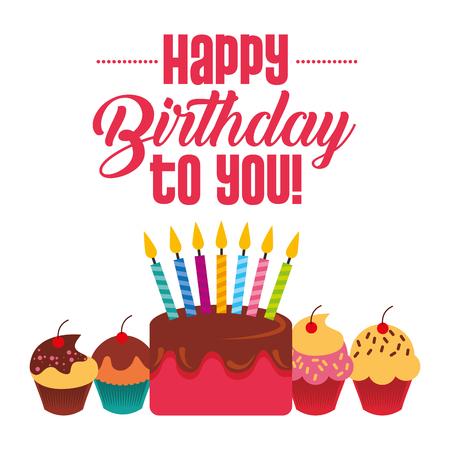buon compleanno cupckae torta con candele celebrazione carta illustrazione vettoriale