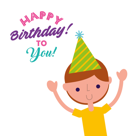 happy birthday to you funny little boy with party hat vector illustration