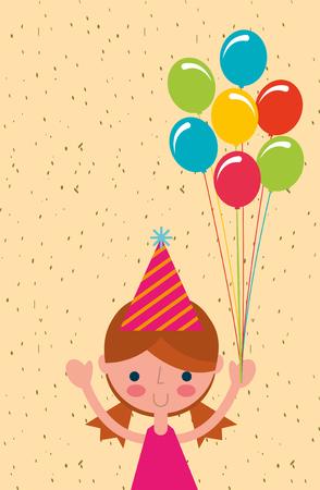 gelukkig meisje met bos gekleurde ballonnen vector illustratie Stock Illustratie