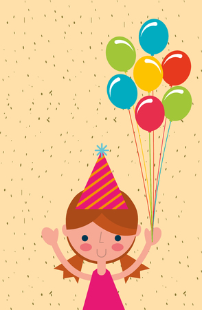 happy little girl with bunch colored balloons vector illustration