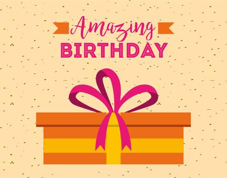 amazing birthday card decorative present surprise vector illustration