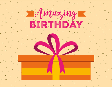 amazing birthday card decorative present surprise vector illustration