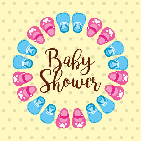 baby shower card with blue and pink shoes circle vector illustration 일러스트