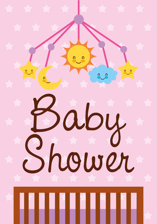 baby shower card crib mobile toys vector illustration