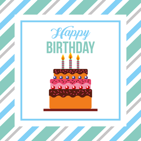 happy birthday card tasty cake with candles vector illustration