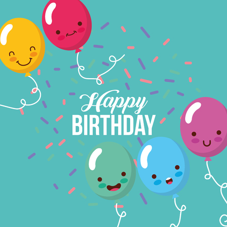 cute balloons cartoon confetti happy birthday card vector illustration
