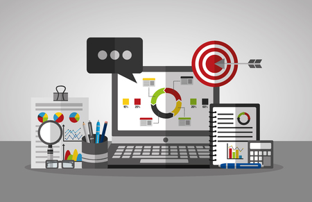 statistics data business laptop calculator target message diagrams vector illustration