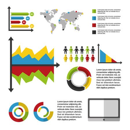 business statistics graph demographics population chart people infographic technology vector illustration Illustration