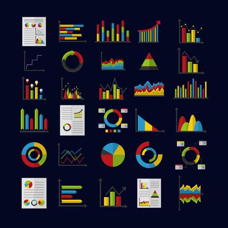 statistics analysis data strategy business graphs vector illustration