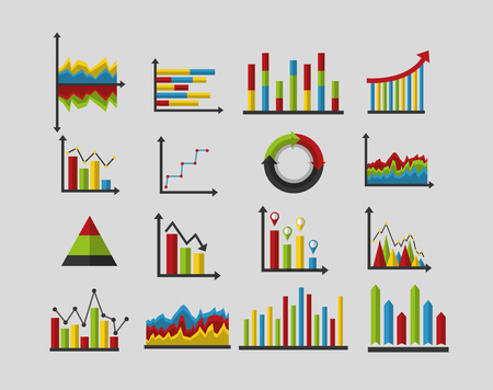 statistics analysis data strategy business graphs vector illustration