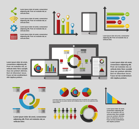 business statistics graph demographics population chart people infographic technology vector illustration Illustration