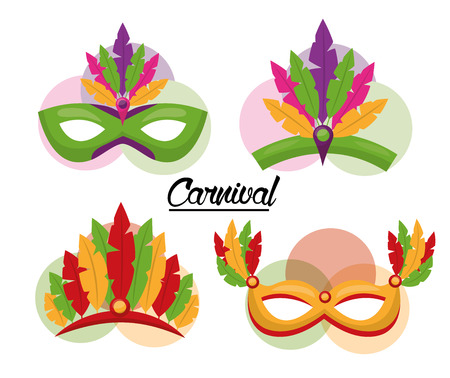 carnival mask feather party celebration vector illustration
