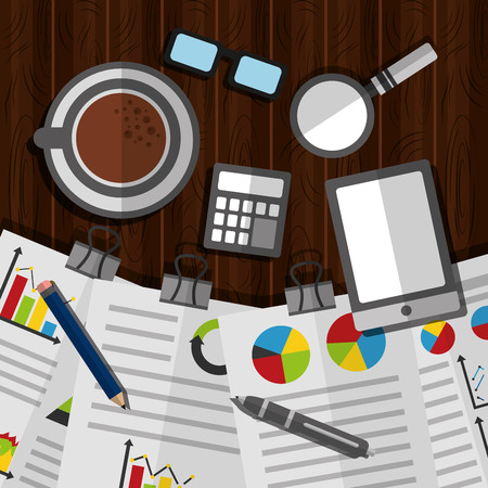 workspace with documents paper statistics data business coffee on table vector illustration Illusztráció