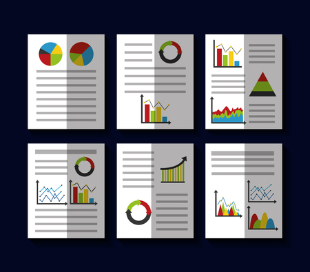 statistics data business report template style charts and graphs vector illustration