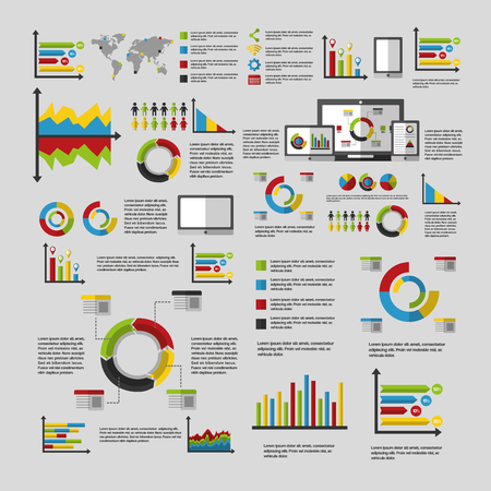 business statistics graph demographics population chart people infographic technology vector illustration Çizim