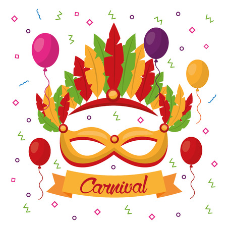 carnival mask with feathers festive vector illustration