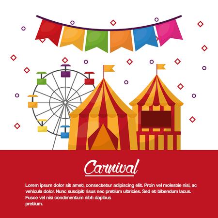 carnival fun fair tent festival vector illustration