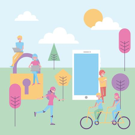 people group young in park with devices digital vector illustration