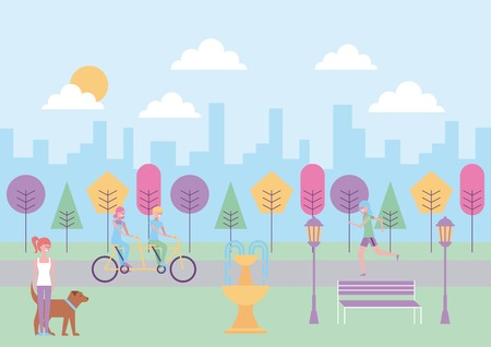 people in the park riding bike walking dog fountain bench city vector illustration