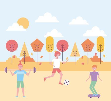 people playing in the park autumn season vector illustration Illustration