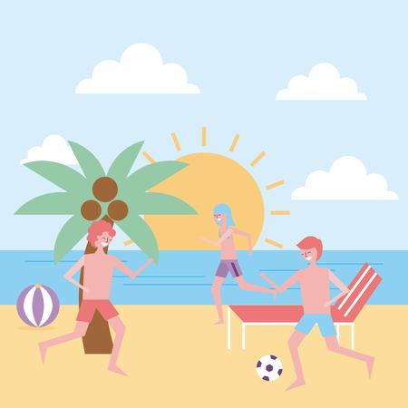 people funny playing in the beach vector illustration