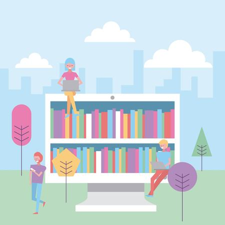 people in the park with computer books online vector illustration