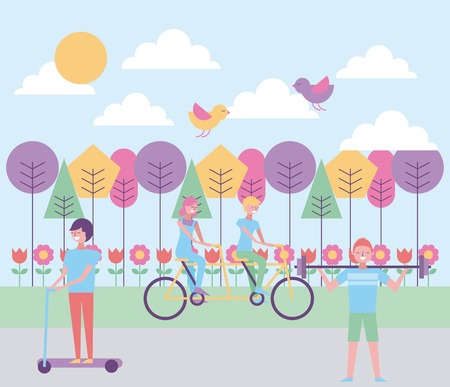 people riding tandem skate and lifting weight in the park vector illustration