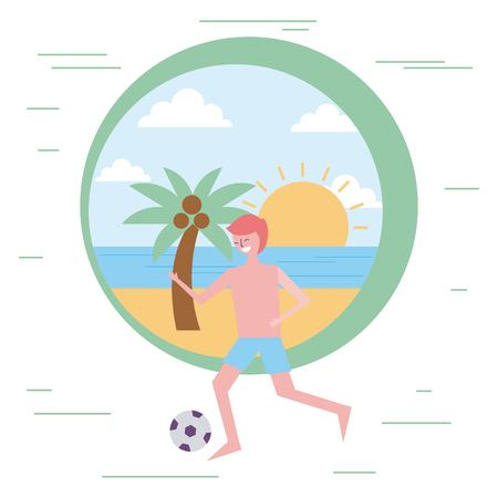 young man playing soccer ball in the beach vector illustration