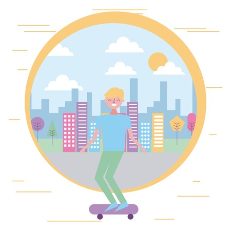 smiling young man riding skateboard in the city vector illustration
