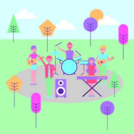 people music celebration in the park vector illustration Illustration