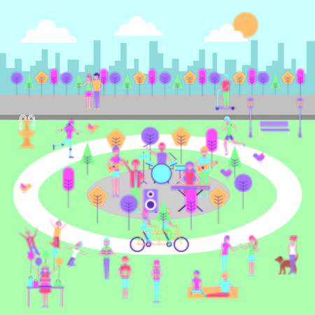 people celebrating birthday music making exercise in the park vector illustration