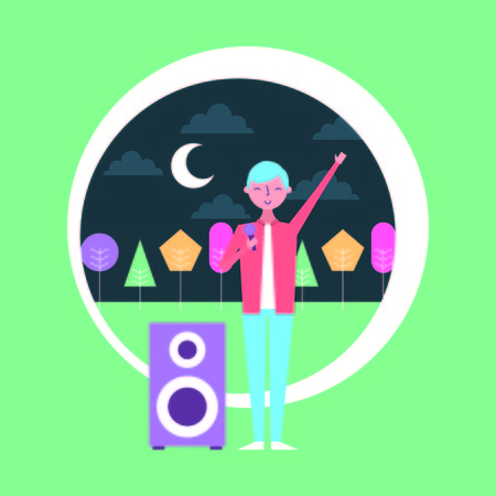 people young man singer and speaker audio musical at night vector illustration
