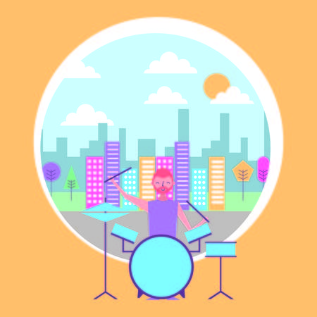 beard man playing battery drums musical city background vector illustration