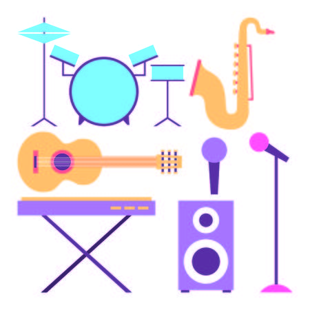 collection instruments musical equipment icons vector illustration
