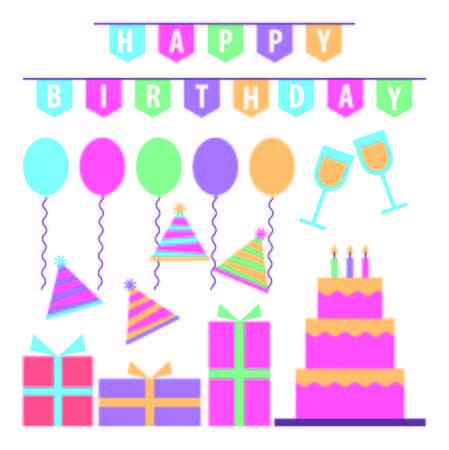 happy birthday celebration cake gifts pennant party hats vector illustration Reklamní fotografie - 97337022