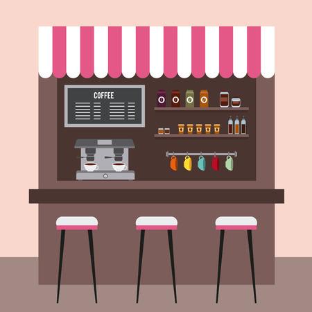 Café-restaurant salle de café intérieur boisson illustration vectorielle Banque d'images - 97337026