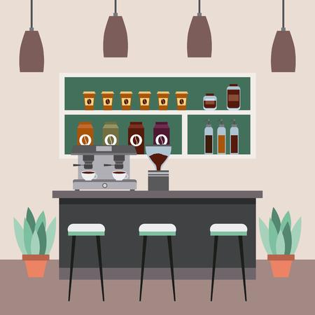 coffee shop interior bar counter espresso machine pot plants vector illustration Illustration
