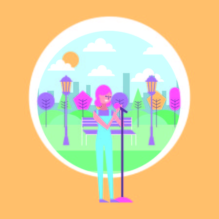 woman sings with microphone in the park with urban background vector illustration