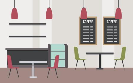 Café intérieur moderne mobilier espace vecteur illustration Banque d'images - 97337068