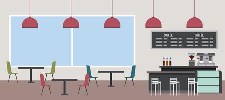 coffee shop interior window chair table machine latte vector illustration
