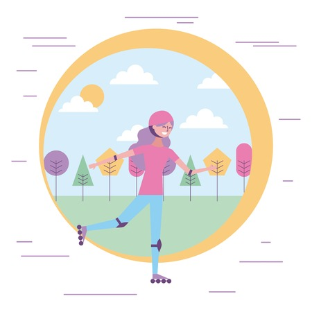 happy woman on roller skating sport in the park vector illustration