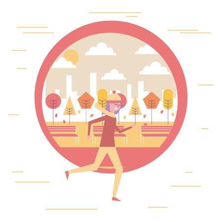 young woman running in warm clothes with autumn landscape vector illustration Illustration