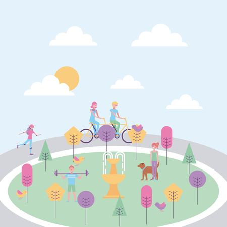 people in the park with fountain trees vector illustration Illustration